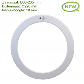 LED IN- EN OPBOUW DOWNLIGHT MET BEWEGINGS- EN LICHTSENSOR Ø220MM