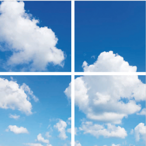 FOTOPRINT afbeelding wolk verdeeld over 4 panelen 595 x 595 mm